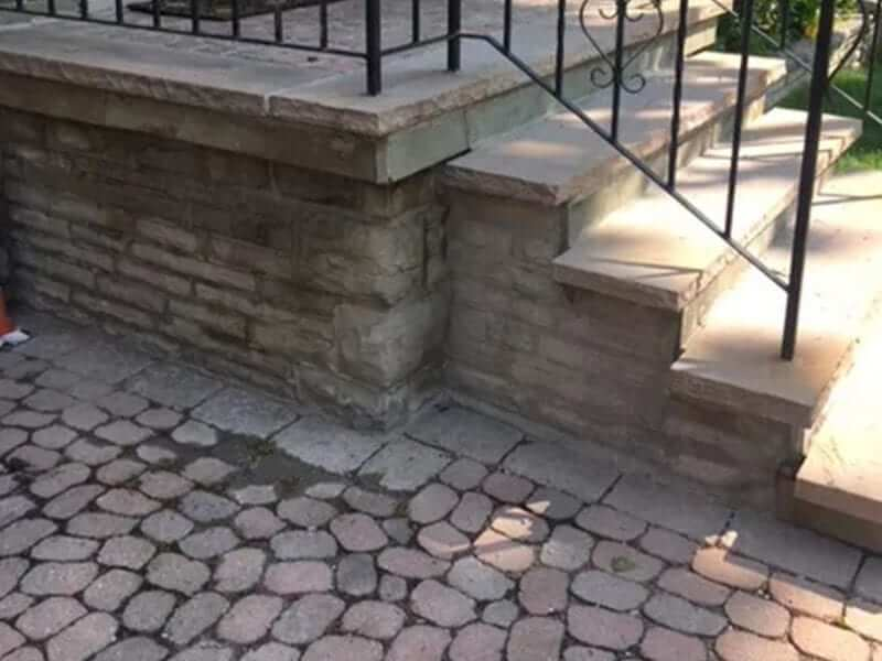 Stone porch repair, mortar repair